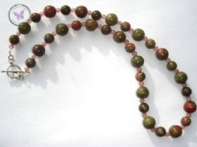 Unakite & Strawberry Quartz Necklace